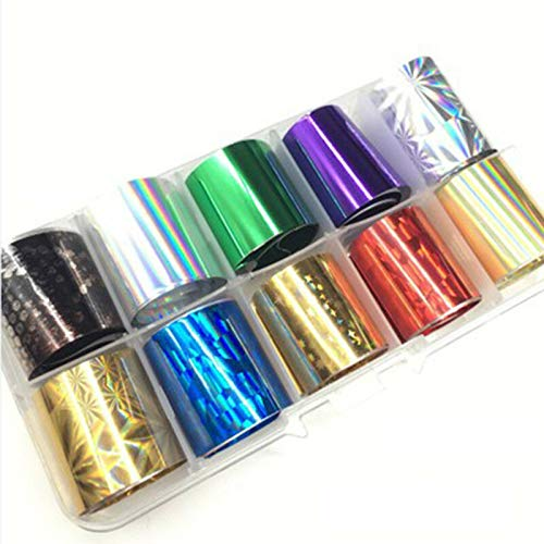 10 Reels/Box Holographic Nail Foil AB Color Transfer Sticker Nail Art Decals DIY (Color - 12)