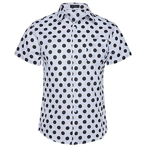 POTO Hawaiian Shirts for Men Casual Button Down Shirt Short Sleeve Dot Print Beach Blouse Tops T-Shirt White