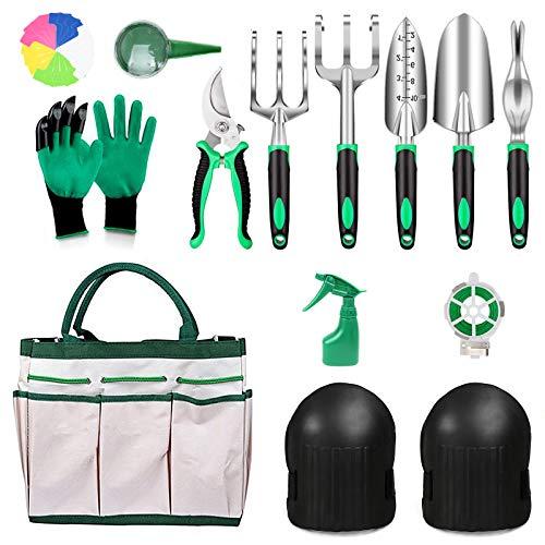 PiscatorZone Garden Tools Set 11 PCS Heavy Duty Gardening Tools Set with Non-Slip Handle,Garden Shears, Gloves,Durable…