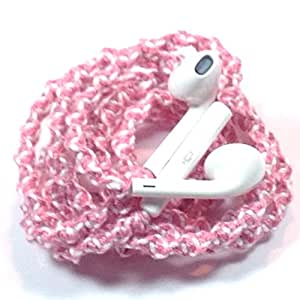Handmade Wrapped Tangle-Free Earbuds | Baby Pink| Genuine iPhone EarPods