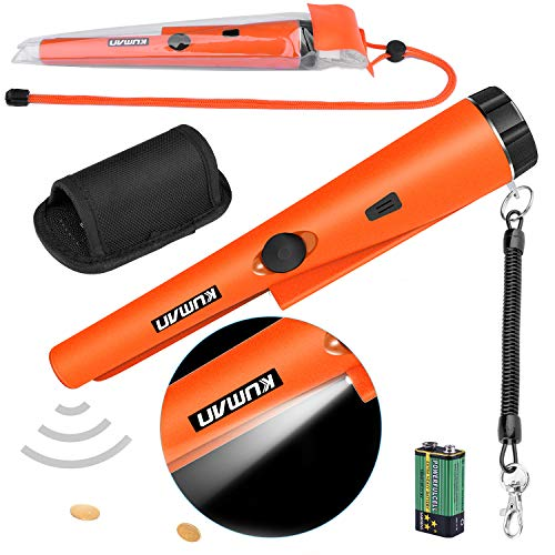kuman Pin Pointer Metal Detector Kit with Multifunctional PVC Waterproof Case and Holster 360 Scanning Treasure Hunting Unearthing Tool