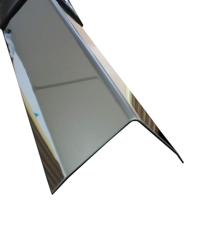 Edelstahl 3-fach Winkelprofil 1500 mm 60x60 mm Kornschliff 240 V2A 0,8mm stark 3fach Winkelblech Eckschutz Leiste,L-Schiene 150cm Edelstahl 3-fach L-Profil Schenkel 6x6 cm