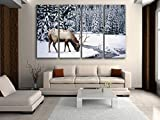 Extra Large Contemporary Decor Wall Art Print Canvas Elk Winter Snow Wild Animal, Oversized ELK Wall Art, Living Room, White Lilac