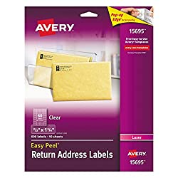 "Avery Clear Easy Peel Return Address Labels For Laser Printers 23"" X 1-34"", Pack Of 600 (15695)"