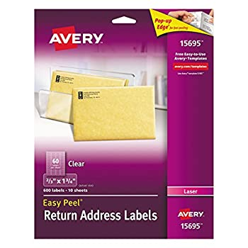 """Avery Clear Easy Peel Return Address Labels For Laser Printers 23"""" X 1-34"""", Pack Of 600 (15695) 0"""