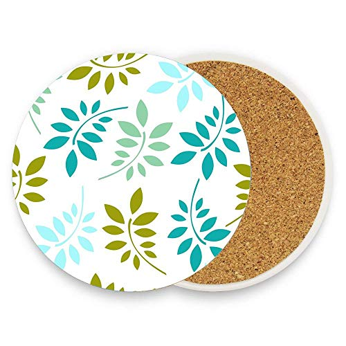 Coasters for Drinks, leaves pattern foliage design Absorbent Ceramic Stone with Cork Backing Coaster, Suitable for Kinds of Cups and Mugs 1 Pack