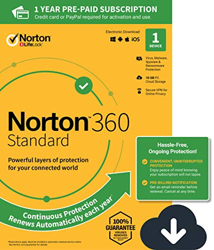 NEW Norton 360 Standard - Antivirus software for 1 Device with Auto Renewal - Includes VPN, PC  Cloud Backup & Dark Web Monitoring powered by LifeLock [PC/Mac Download] (Norton Internet Software)
