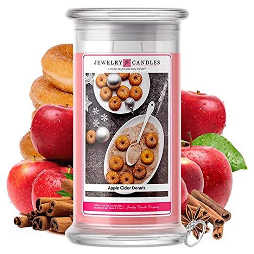 Jewelry Candles | Jewelry Valued at $15 - $7,500 | Large Long-Lasting 21oz Jar All Natural Soy Candle | Hand Poured Made in The USA Family Owned (Ring (Size 7) (Apple Cider Donuts)