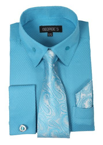 Shirts Dress George - George's Dress Shirt w/ Matching Tie,Hankie,Cuff & Cufflink AH619-Aqua-15-15 1/2-34-35