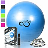 Live Infinitely Exercise Ball -Professional Grade Exercise Equipment Anti Burst Tested with Hand Pump- Supports 2200lbs- Includes Workout Guide Access- 55cm/65cm/75cm/85cm Balance Balls (Blue, 85 cm)