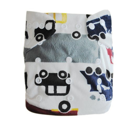 Alva Baby One Size Washable Reusable Minky Cloth Diaper (Car Print) with 2 Inserts Microfiber M14, Health Care Stuffs