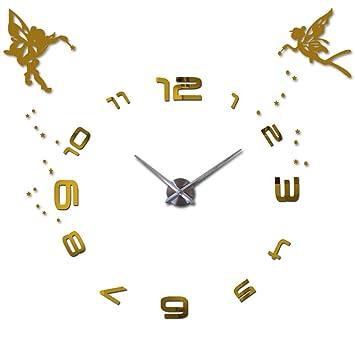 Lanlugg Alas de ángel Princesa 3D Árabe Reloj de Pared Digital Moderno Relojes de Pared Grandes
