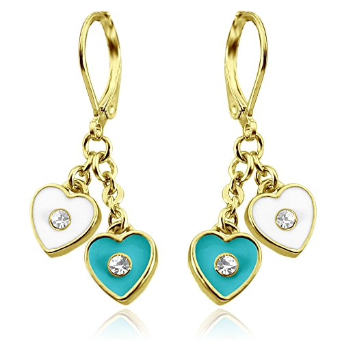 Heart Earrings For Women Gold Plated Dangle Earrings - Heart Hoop Earrings For Women Heart Earrings For Teens Quality Fashion Jewelry Earrings For Mom For Mothers Day Gifts Secure Leverback Earrings ()