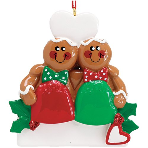 Personalized Gum Drop Gingerbread Couple Christmas Tree Ornament 2019 - Best Friend Sibling Hug Cookie Heart Twins Babies' Cute 1st Together Tradition Grand-Kid Year - Free Customization (Drop Tree Gum)