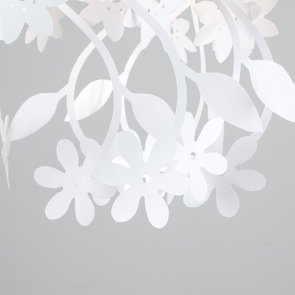 Belles fleurs en cascade et les feuilles florales blanches suspendues Lustre abat-jour MiniSun
