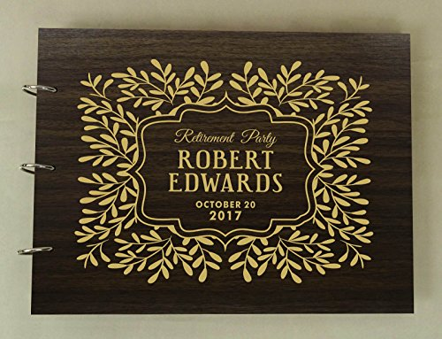 Guest Book Engraved (Handmade Custom Guest Book Retirement Party Wood Engraved Photo Album Scrapbook)