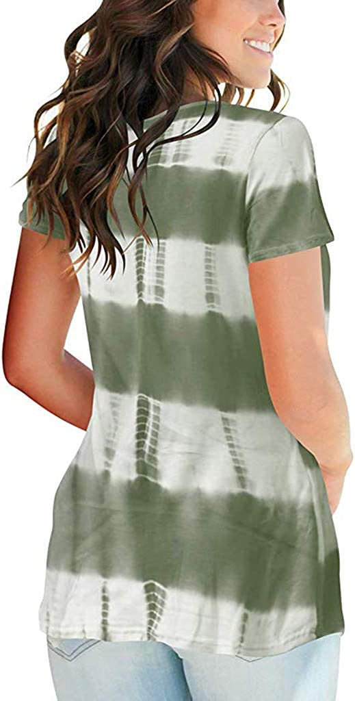 Summer Tops for Women 2019 Tronet Womens Summer Tie-Dyed Print V Neck Summer Casual Short Sleeve T Shirts Tops