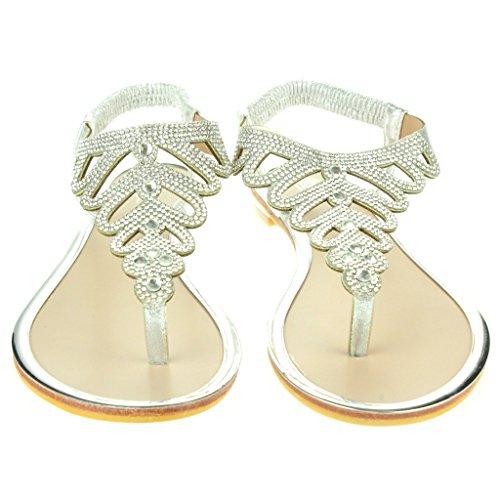 Mujer Señoras Diamante Toe Post Slingback Verano playa Casual Fiesta Punta abierta Comodidad Plano Sandalias Zapatos Tamaño Plata