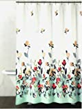 DKNY Watercolor Fields Fabric Shower Curtain In Aqua/Coral