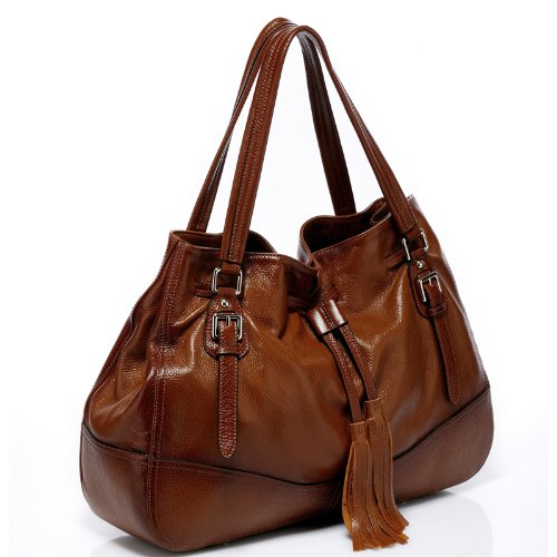 Vicenzo Leather Madonna Italian Leather Handbag (Brown): Handbags ...