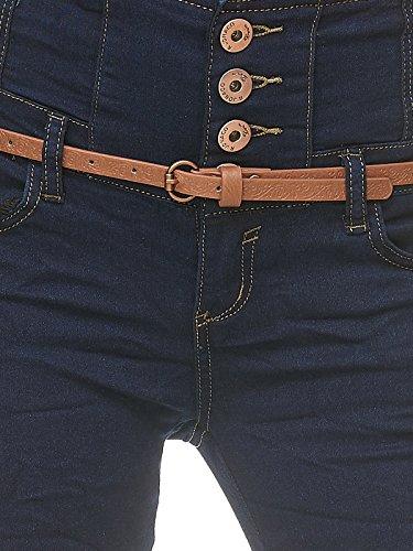 Pantaloni Vita Jeans Scuro Donna Blu Alta Cintura D2227 Elasticizzato qvtxpnxU