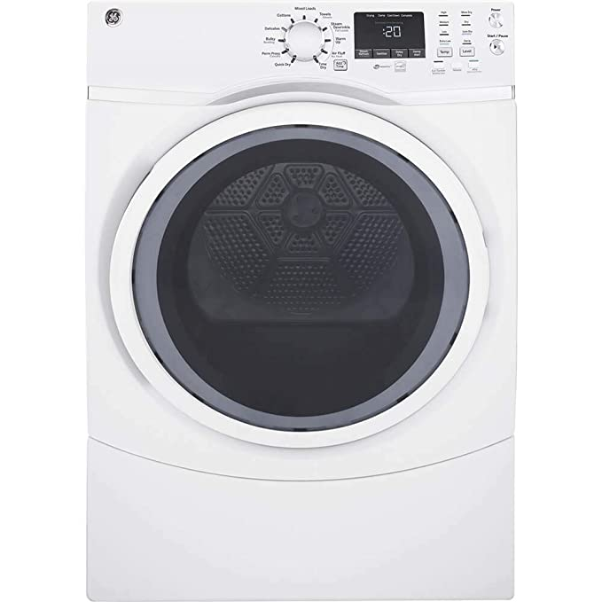 GE GFD45ESSMWW Front Load Steam Electric Dryer, 7.5 Cu. Ft. Capacity, White, best electric dryers