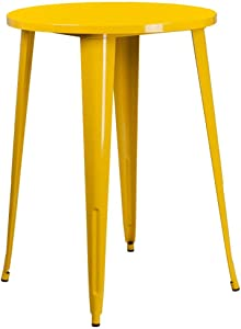 """Flash Furniture Commercial Grade 30"""" Round Yellow Metal Indoor-Outdoor Bar Height Table"""