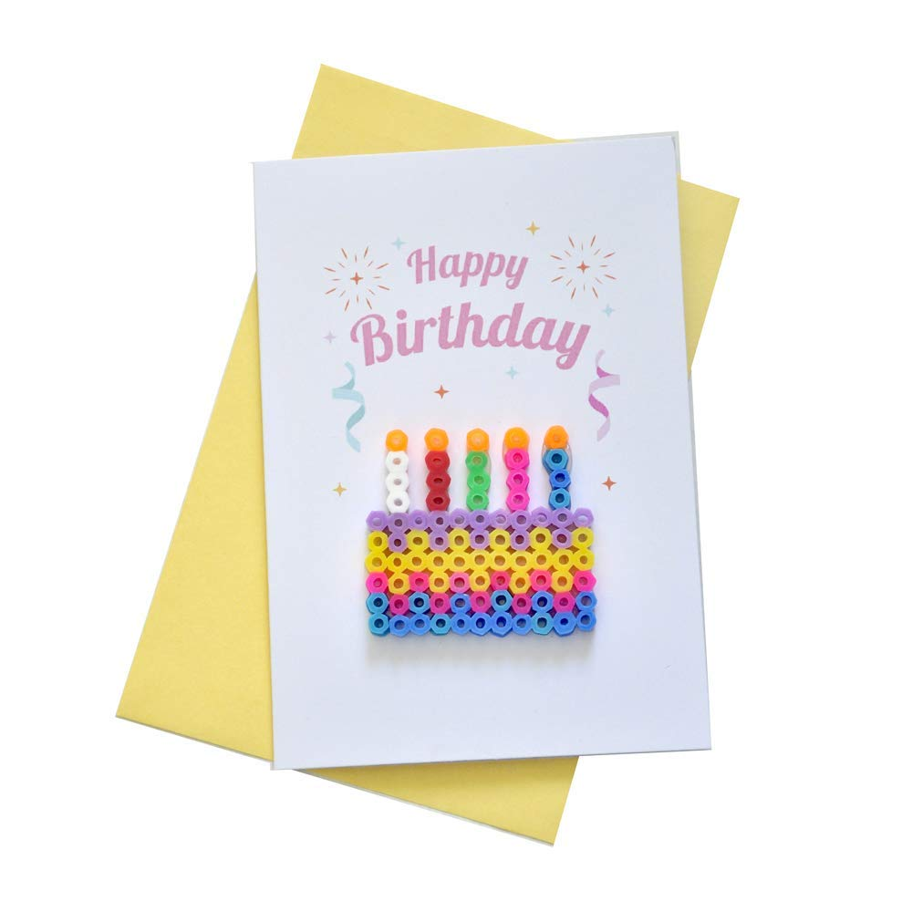Wondrous Amazon Com Cake Birthday Card Perler Art Happy Birthday Personalised Birthday Cards Paralily Jamesorg