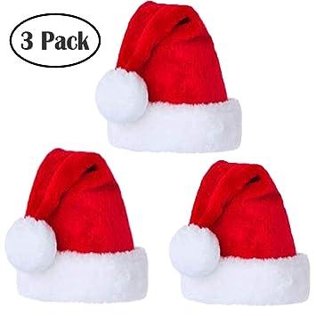 fa21d13a6 Santa Hat Velvet Comfort Christmas Hats for Adults and Kids Winter Plush  Xmas Santa Hats Cap for...