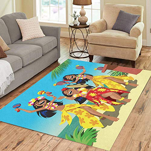 (Pinbeam Area Rug Hawaii Party Three Young Hula Girls Dancing Beach Home Decor Floor Rug 2' x 3' Carpet)
