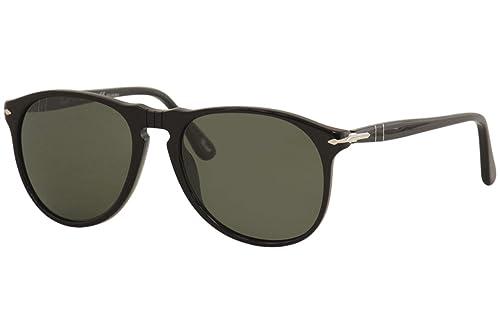 76716702a6e2 Persol Men's Polarized PO9649S-95/58-55 Black Oval Sunglasses ...
