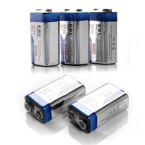 5 Pack EBL 600mAh 9V 9 Volt Li-ion Lithium-ion Rechargeable Batteries for Wireless Microphone, Smoke Detector/Alarm, RC/Remote Control, Radios ,Toys and More by EBL (Image #2)