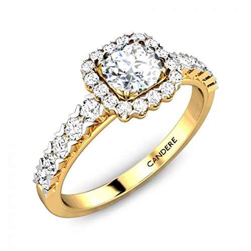 0.69 Carat (2/3 ctw) Round Cut Diamond Classic Solitaire Halo Engagement Ring with Side Stones in 14K Yellow Gold