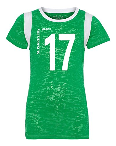 Jacted Up Tees St. Patrick's Day March 17 Jersey Look Blue 84 LADIES T-Shirt - XL Irish Green/White (St Pats T Shirts)