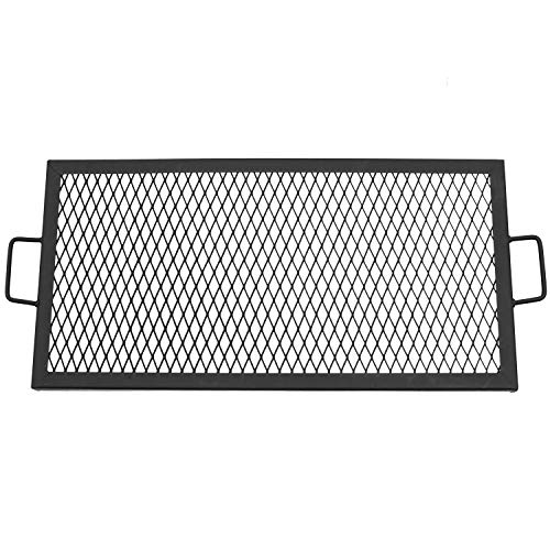 Sunnydaze X-Marks Fire Pit Cooking Grill Grate, Outdoor Rectangle BBQ Campfire Grill, Camping Cookware, 30 Inch