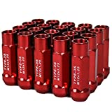 Godspeed New Type 3-X RED 12mm x 1.25 Thread Size Cold Forged SCM-435 Steel Black Finish Open End Lug Nut, (pack of 20)