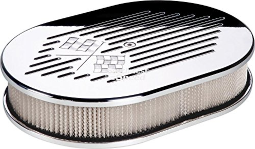 "NEW BILLET SPECIALTIES CROSS FLAGS POLISHED ALUMINUM SMALL OVAL AIR CLEANER ASSEMBLY, 11 7/8"" LONG X 8 3/8"" WIDE X 3"" TALL WITH K&N LIFETIME FILTER ELEMENT & STAINLESS STEEL HARDWARE"