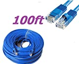 CableVantage New 100ft 30M Cat5 Patch Cord Cable 500mhz Ethernet Internet Network LAN RJ45 UTP For PC PS4 Xbox Modem Router Blue