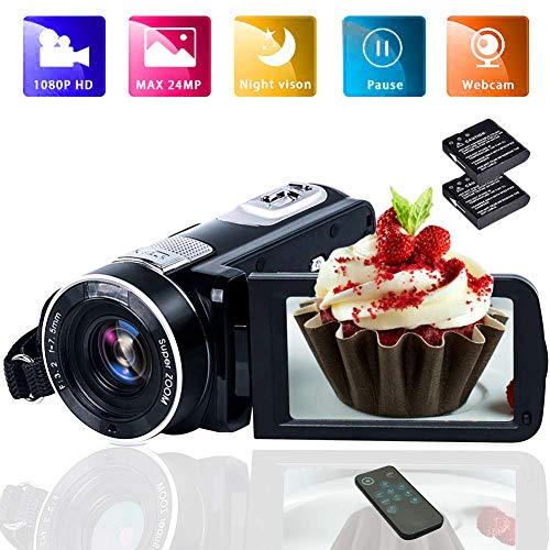 Lowest Prices! Camcorder Video Camera Full HD 1080p Vlogging Camera 18X Digital Zoom Night Vision Di...