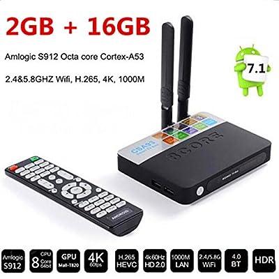 CSA93 Android 7.1 4K TV Box 2GB 16GB Amlogic S912 Octa Core Streaming Smart Media Player Set top Box