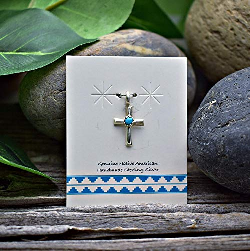 (Genuine Sleeping Beauty Turquoise Cross Pendant in 925 Sterling Silver, Authentic Navajo Native American, Handmade in the USA, Nickle Free Baptism Gift)