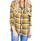 Women Yellow Plaid Shirt Long Sleeve Turn-down Collar Button Up Blouse Tops