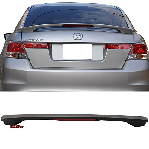 Oe Style High Wing (Trunk Spoiler Fits 2008-2012 Honda Accord Sedan | OE Style ABS Matte Black Trunk Boot Lip Spoiler Wing Deck Lid With LED Brake By IKON MOTORSPORTS | 2009 2010 2011)