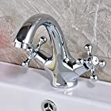 Rozin Deck Mounted Double Knobs Basin Faucet Single Hole Bathroom Sink Mixer Tap Chrome Finish