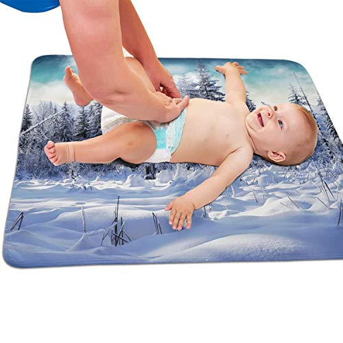 V5DGFJH.B Baby Portable Diaper Changing Pad Winter Snow Scene Urinary Pad Baby Changing Mat 31.5