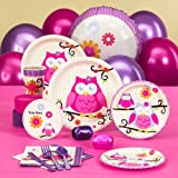 Owl Blossom Party Supplies - Baby Shower Standard Pack for 16