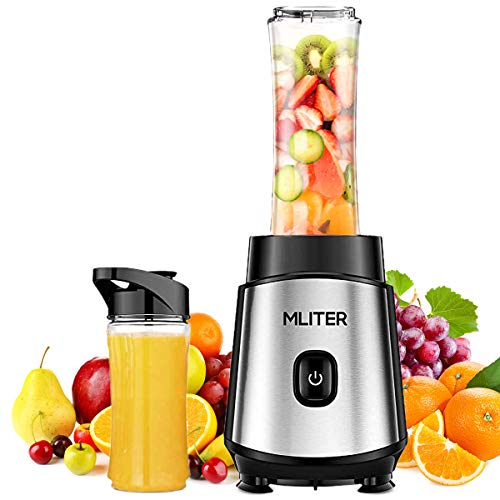 MLITER 350W Personal Mini Blender Smoothie Maker, Single Serve Portable Juicer and Mixer for Fruit and Vegetable With Travel Sport Bottle - Black and Silver