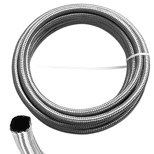 ZaZaTool - 1 FOOT 6AN STAINLESS STEEL NYLON BRAIDED SILVER OIL FUEL GAS LINE HOSE
