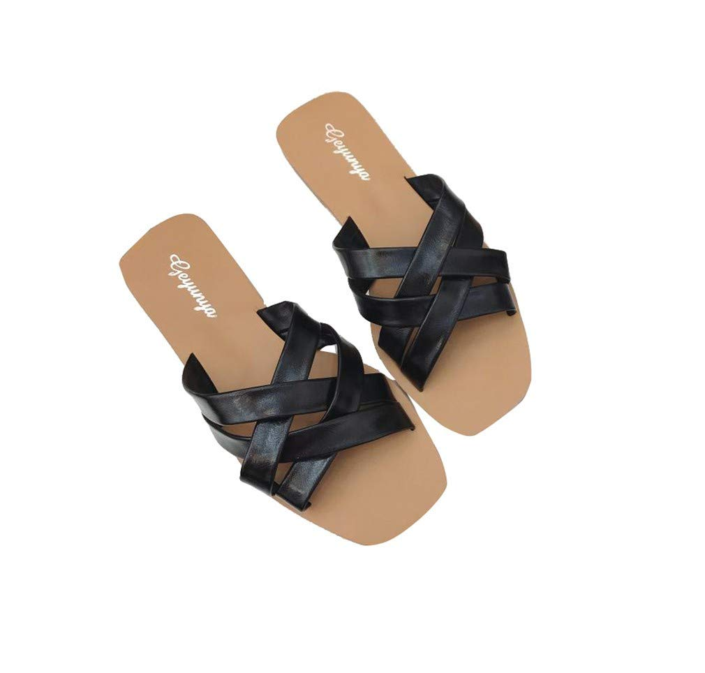 YUCH Pantoufles pour Femmes Cross Low Shoes to Toe pour Shoes to Black d0f1b7a - boatplans.space