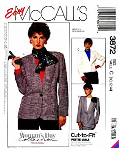 McCall's 3872 Womens Unlined Jacket Vintage Sewing Pattern Size 10 - 12 - 14